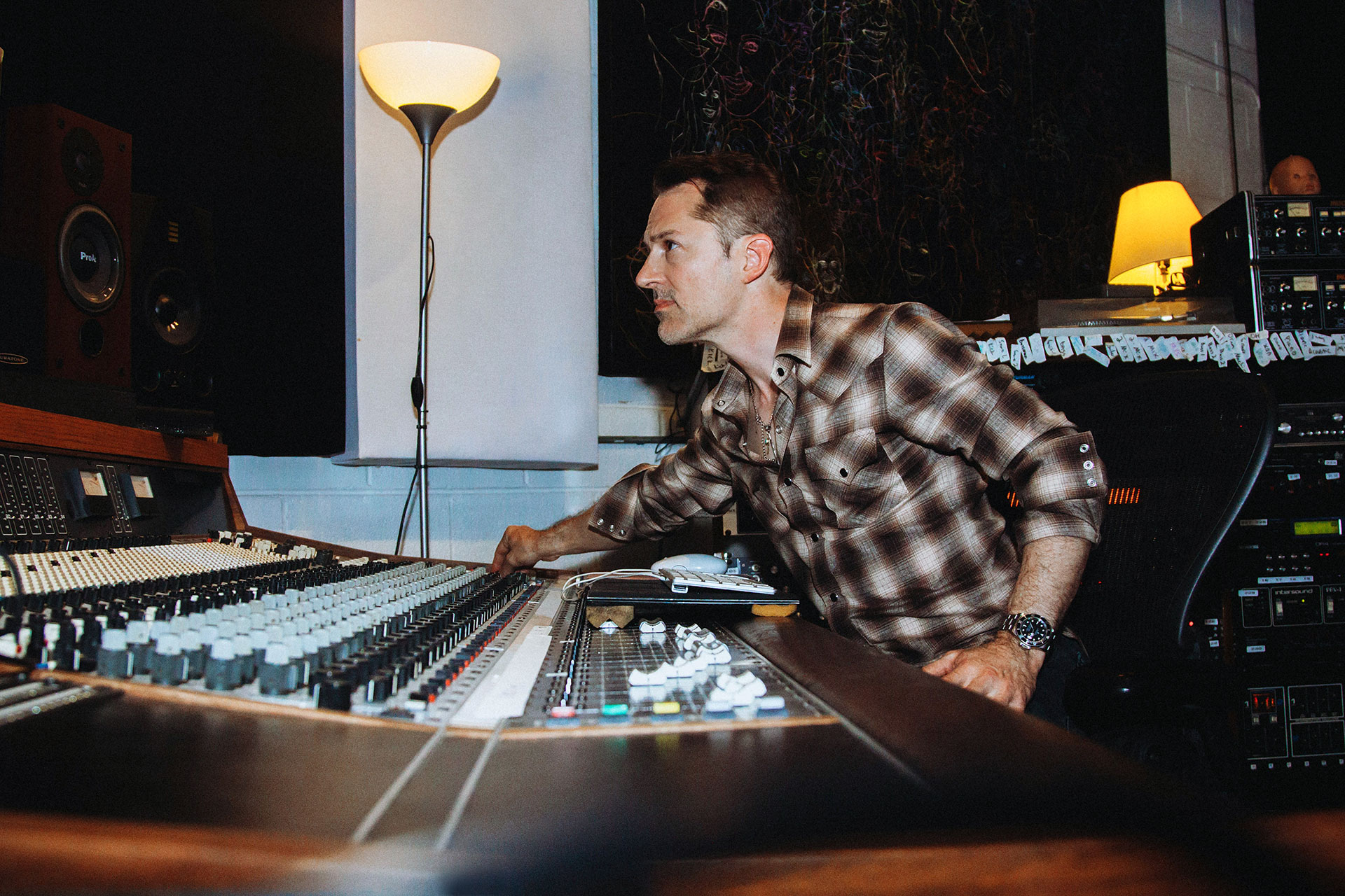 Stephen Becker composer producer in his music studio