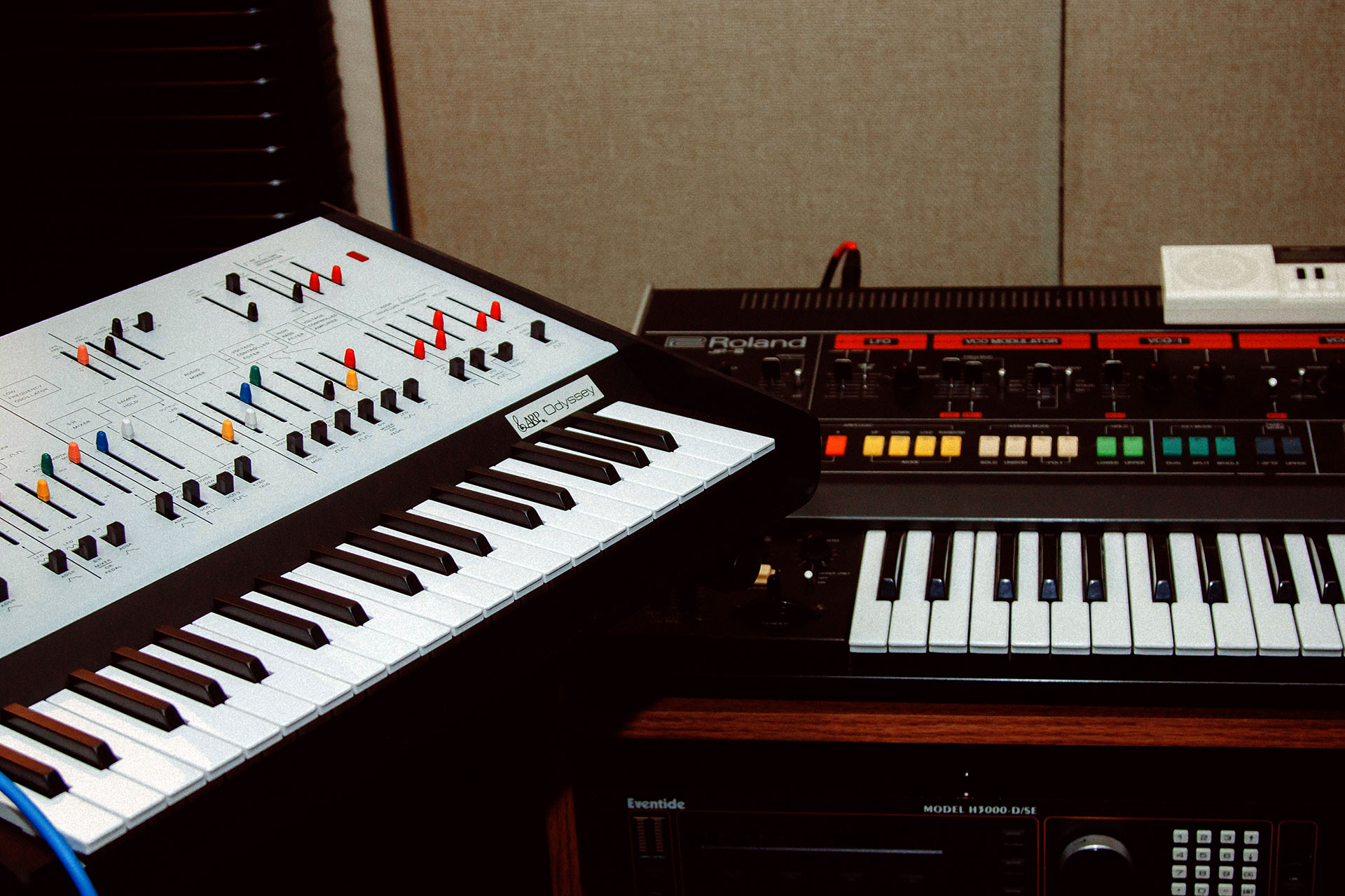 Odyssey and Jupiter 8 synthesizers