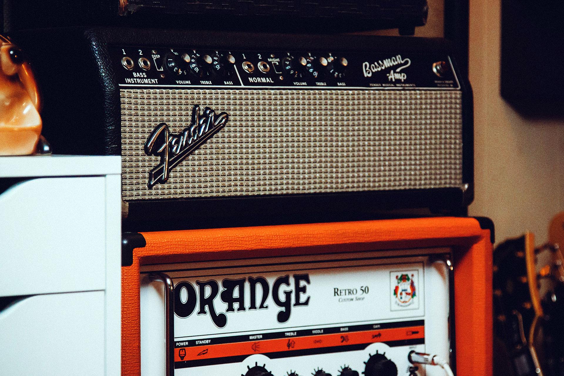 Fender Bassman Amp and Orange Retro 50