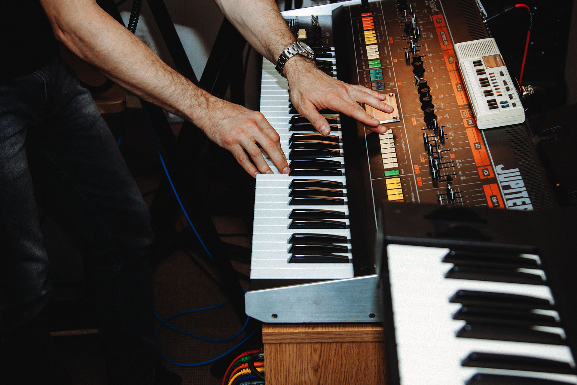 Stephen Becker playing the Jupiter 8 synthesizer